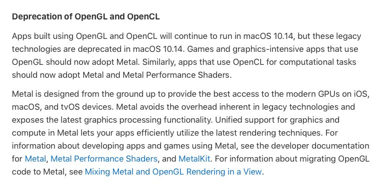 OpenGL is deprecated in 10 14 Mojave - cocos2d-x - Cocos Forums