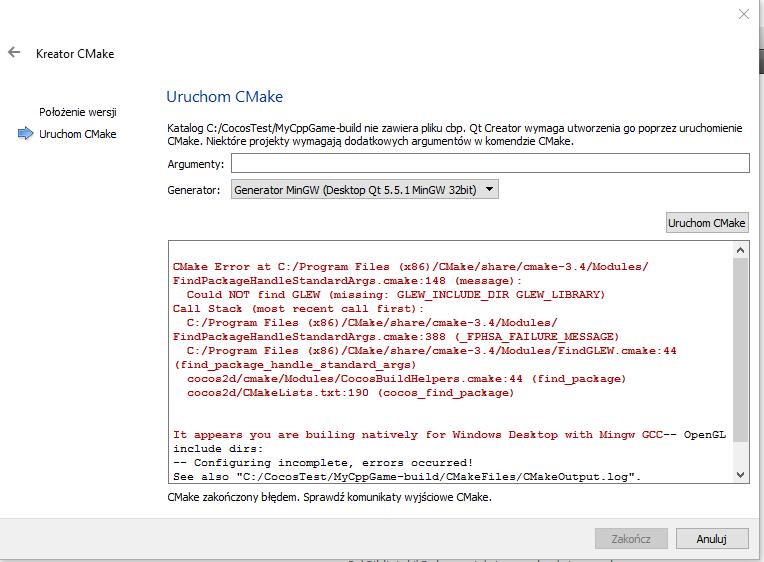 Problem with setup cocos 2dx project qt creator windows 10 - C++