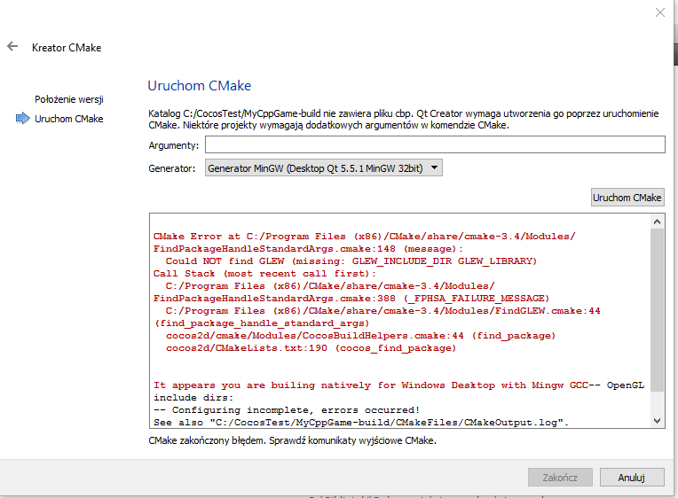 Problem with setup cocos 2dx project qt creator windows 10