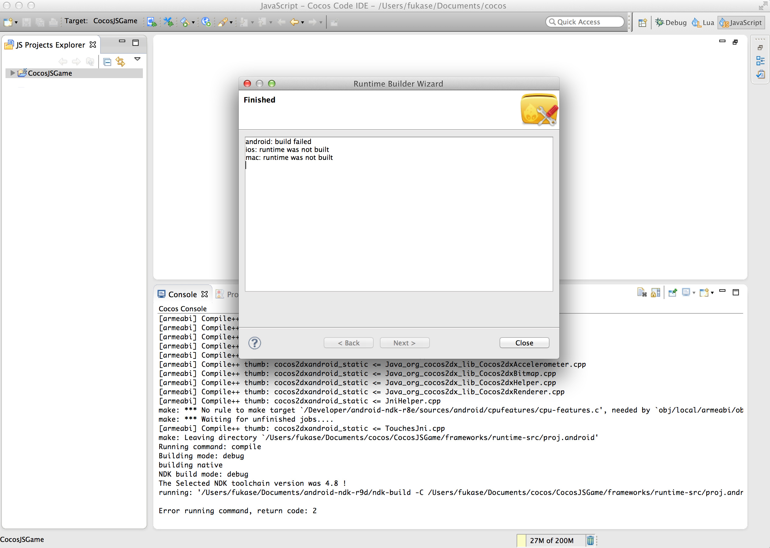 Buid android failed cocos IDE for Mac - Code IDE - Cocos Forums
