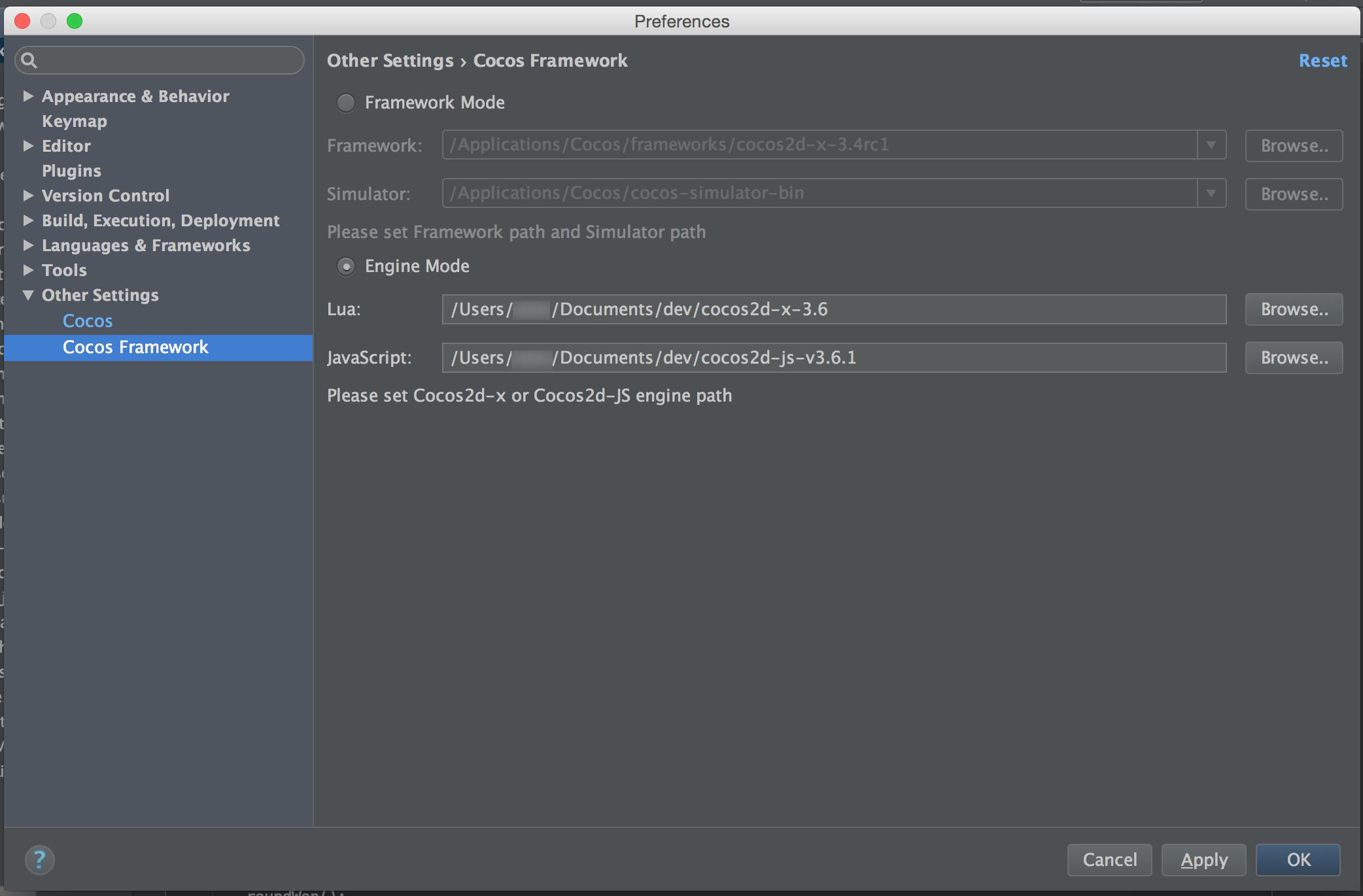 Cocos Code IDE v2 IntelliJ IDEA set up [Solved] - JavaScript