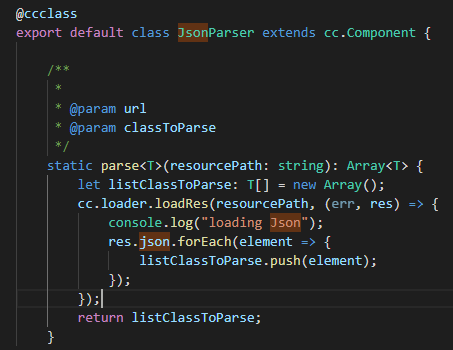 Correct Way to parse Json file into TypeScript Array Object - Cocos