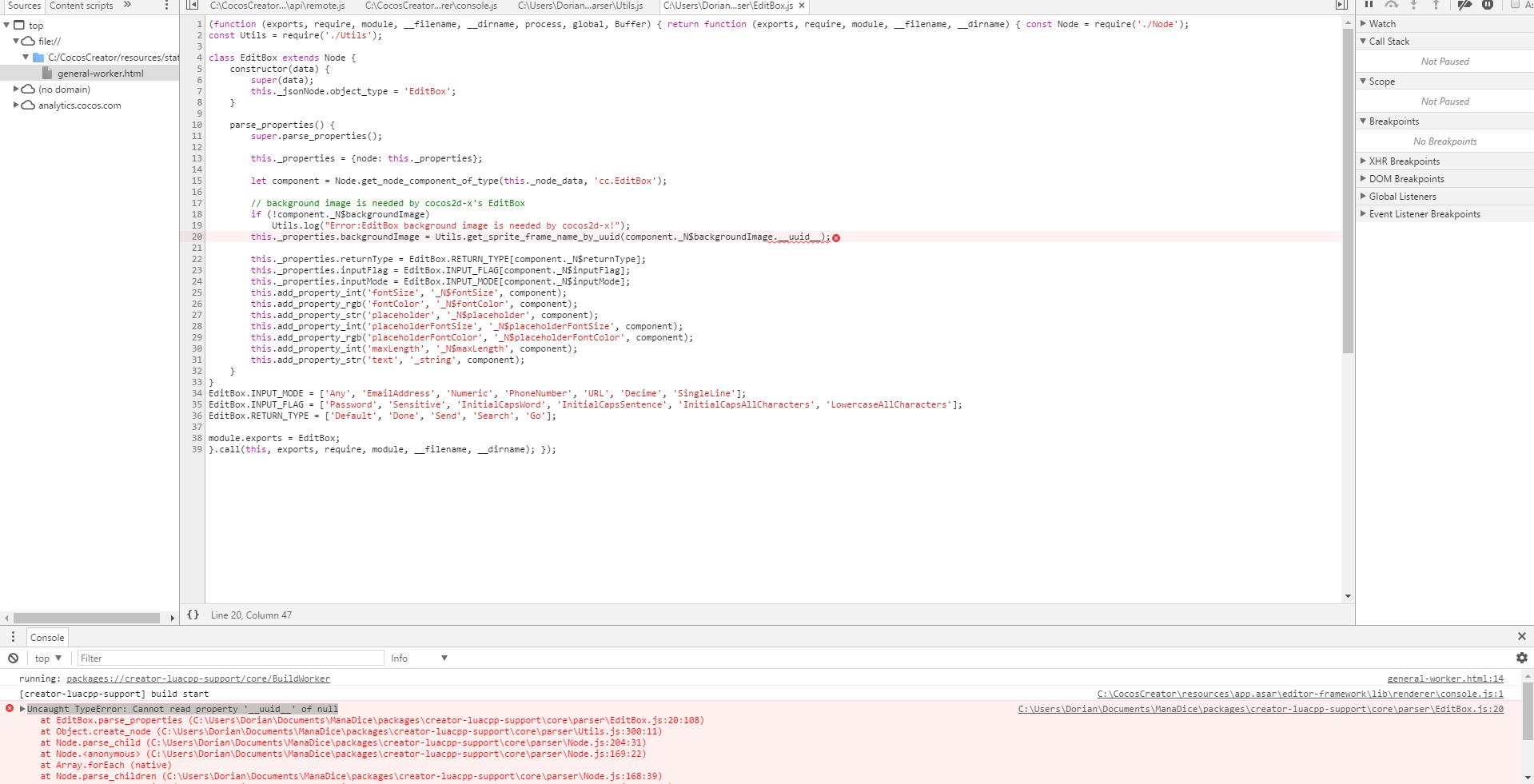 Fresh Creator_to_cocos2dx install  Editbox error js :20 - Cocos