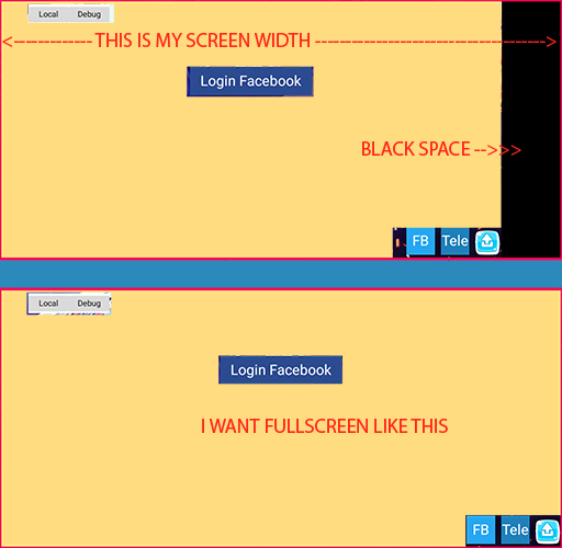 How can i make the app fullscreen on android - Cocos Creator