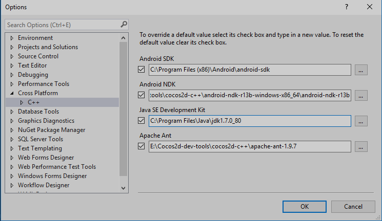 Visual studio 2015 android project setup and build problems