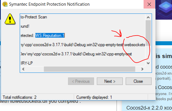AntiVirus Alert ! Cocos2d-x-3 17 1 on windows 10 symantec gives WS